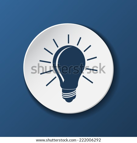 unusual Modern ight bulb paper icon with shadow  on blue background. Vector illustrations. - stock vector