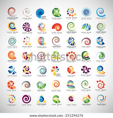 Unusual Spirals Set - Isolated On Gray Background - Vector Illustration, Graphic Design Editable For Your Design  - stock vector
