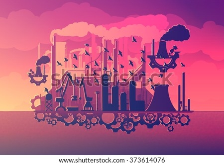 unusual steampunk silhouette industry with the gears(vector eps10)art tale - stock vector