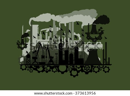 unusual steampunk silhouette industry with the gears(vector eps10)green  - stock vector