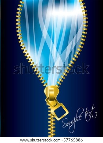 Unzipping cool blue background with transparent ribbons - stock vector