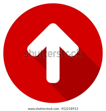 up arrow vector icon, red modern flat design web element - stock vector