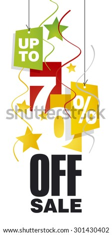 Up to 70 percent off sale red orange background - stock vector