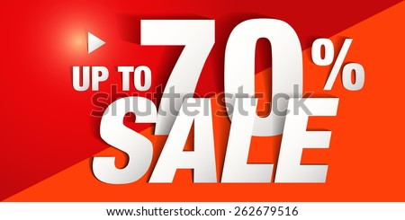 Up to 70%  Sale Poster design (Paper Folding Design)  - stock vector