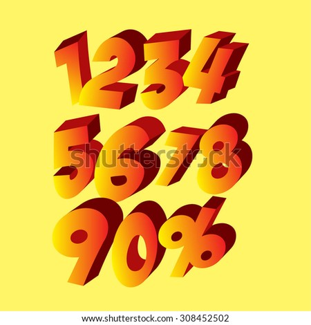 up to ten digits. one, two, three, four, five, six, seven, eight, nine, ten, zero percent - stock vector
