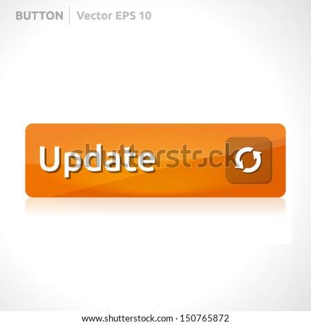 Update button template   vector design   business banner with symbol icon   website element   orange - stock vector