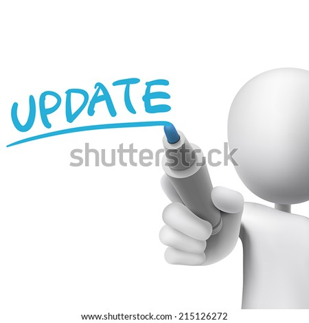 update word written by 3d man over white  - stock vector