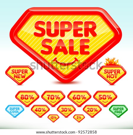 UPDATED and re-designed Super sale icons - stock vector