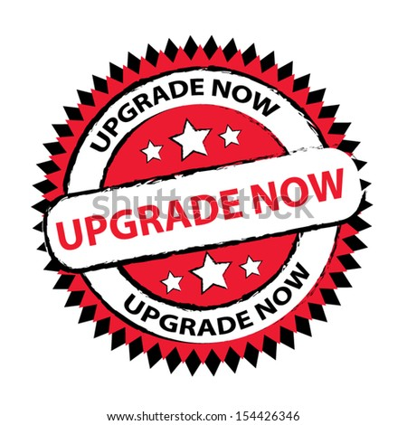 Upgrade now red color stamp, sticker, tag, label, sign, icon.- vector illustration. - stock vector