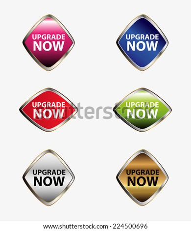 Upgrade now sign label set  - stock vector