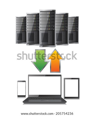 Upload and download from server - stock vector