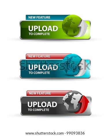 upload Button, collection of upload icons and buttons - stock vector