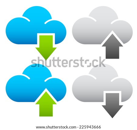 Upload, download concepts with grayed out versions. - Upload, download from the cloud, network or internet - stock vector