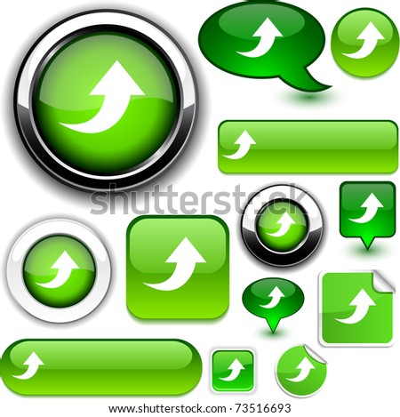 Upload green signs. - stock vector