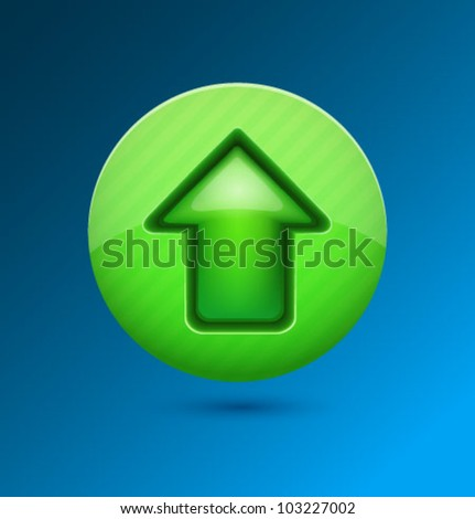 Upload icon blue. Vector. - stock vector