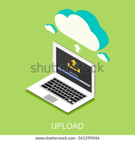 Uploading process on computer concept illustration. Isometric 3d flat design. Uploading bar status.  - stock vector