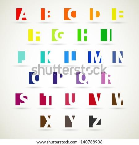 Upper case alphabet set, modern style. - stock vector