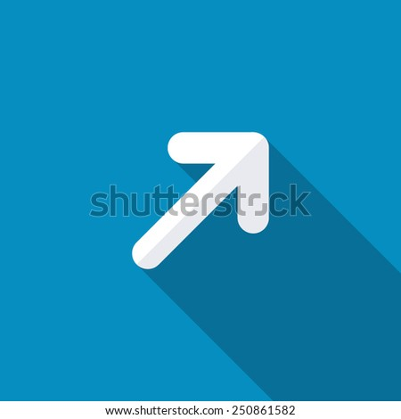 Upper right arrow icon. Modern design flat style icon with long shadow effect - stock vector
