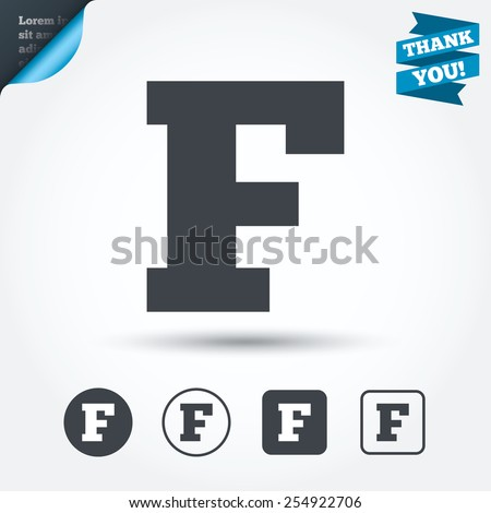 Uppercase letter F icon. Capital character sign. Facebook symbol. Circle and square buttons. Flat design set. Thank you ribbon. Vector - stock vector
