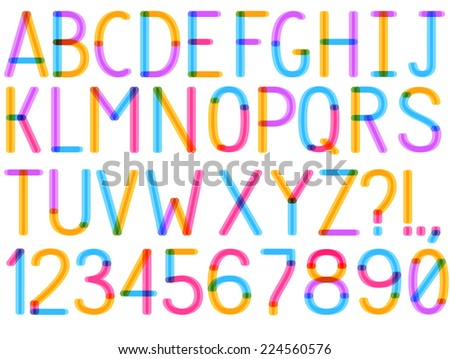 Uppercase vector font with alphabet letters and number options and stripes for use in infographics part - stock vector