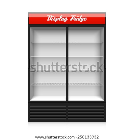 Upright double glass sliding door display fridge. Vector. - stock vector