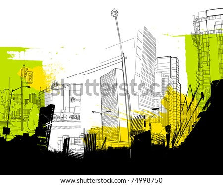 urban abstract collage - stock vector