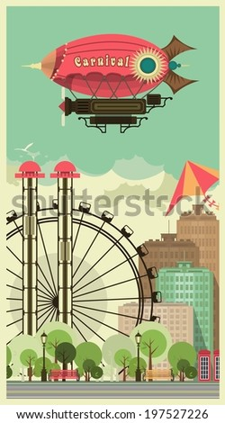 urban amusement park in the sky flying a blimp with the words carnival  - stock vector