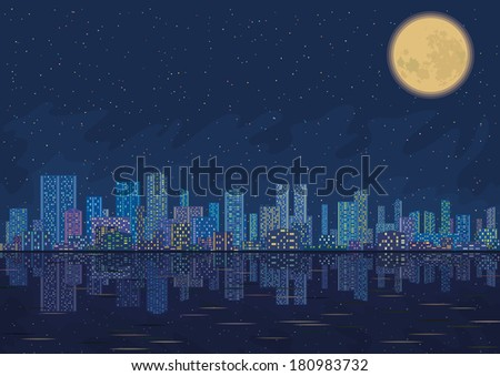 Urban background, night cityscape with skyscrapers, starry sky reflecting in blue sea and big bright moon. Vector - stock vector