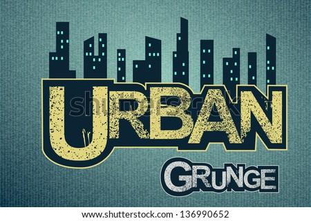 Urban background on grange texture - stock vector