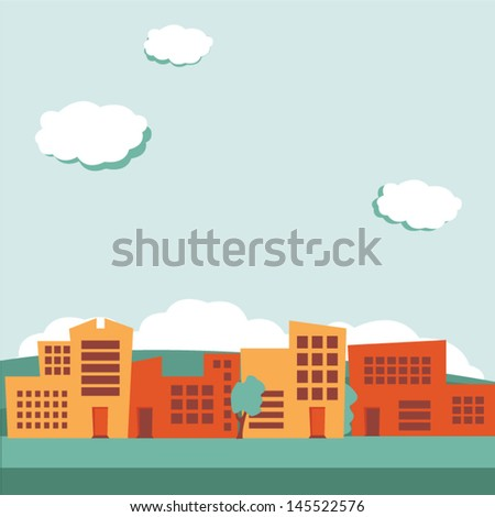 Urban background, retro colored - stock vector