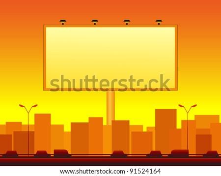 urban background with city landscape and billboard - stock vector