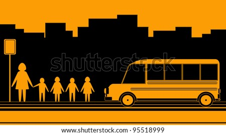 urban background with woman, kids and school bus - stock vector