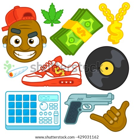 Urban bad boy dj gangsta ghetto stock vector 429031162 shutterstock urban bad boy dj gangsta ghetto hip hop rapper beat maker with money and drugs icon sciox Images