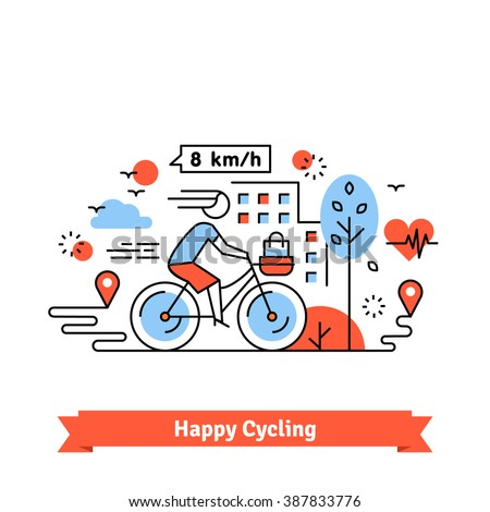 Urban bike path happy cycling woman with a basket on her bicycle. Thin line art icons set. Flat style illustrations isolated on white. - stock vector