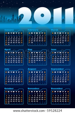 Urban blue calendar for 2011, weeks starts on Sunday - stock vector