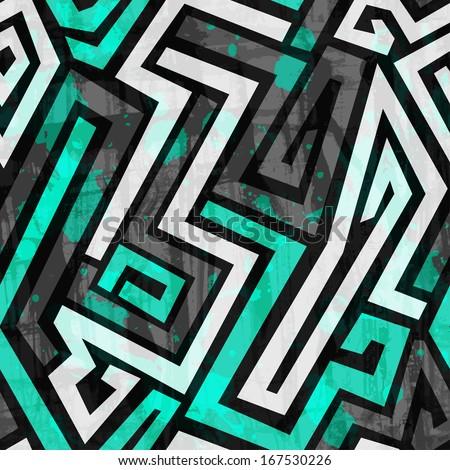 urban blue maze seamless pattern with grunge effect - stock vector