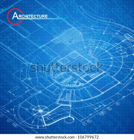 Urban Blueprint (vector). Architectural background - stock vector