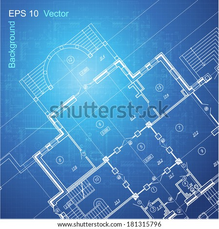 Urban Blueprint (vector). Architectural background. Part of architectural project, architectural plan, technical project, construction plan