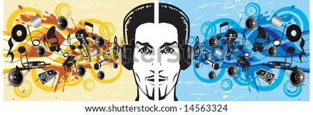Urban boy listening to music vector illustration - stock vector