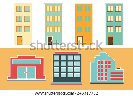 Urban Buildings. Flat icons of Residential and Office buildings.  - stock vector