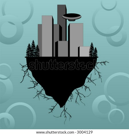 Urban buildings scenery on a floating island. Sci-fi scenery. - stock vector
