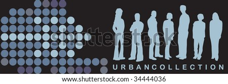 Urban card with people silhouette - stock vector