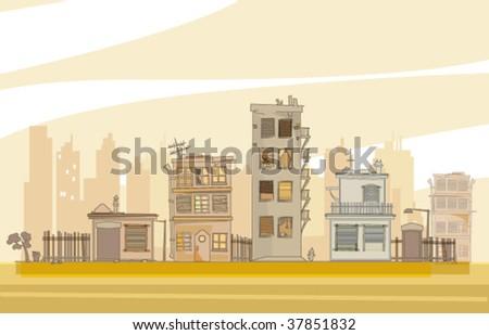 urban cartoon scene, vector editable illustration - stock vector