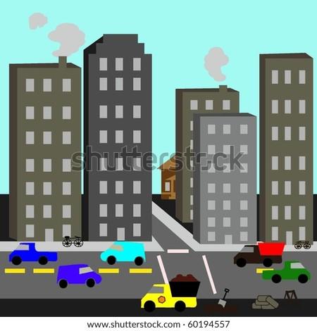 Urban Cartoon Street Scene - stock vector