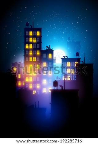 Urban City At Night. Vector illustration of apartment blocks in a city at night. - stock vector