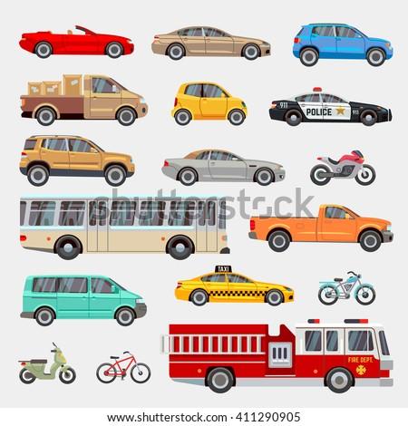Urban City Cars Vehicles Transport Vector Stock Vector