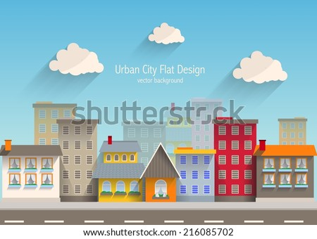 Urban city flat design. - stock vector