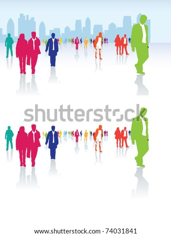 urban city life illustration with lots of people - stock vector