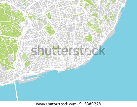 Urban City Map Lisbon Portugal Stock Vector 2018 513889228