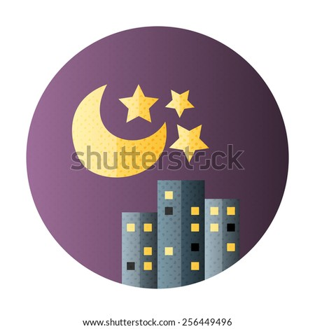 Urban city night life flat circle icon. Flat icon with halftone texture - stock vector